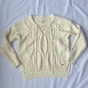 Forever 21 Lace-up Cable Knit Cream Sweater
